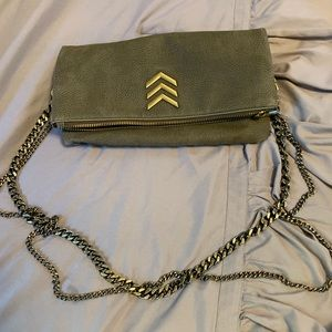 Express Army green clutch purse with double chain
